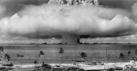 Massive cloud of dust as atomic bombs destroyed Hiroshima and Nagasaki in Japan during World War 2