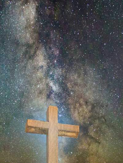Cross of Christ before the stars, as Jesus revealed the Father's character of love, truth, mercy & justice in human flesh