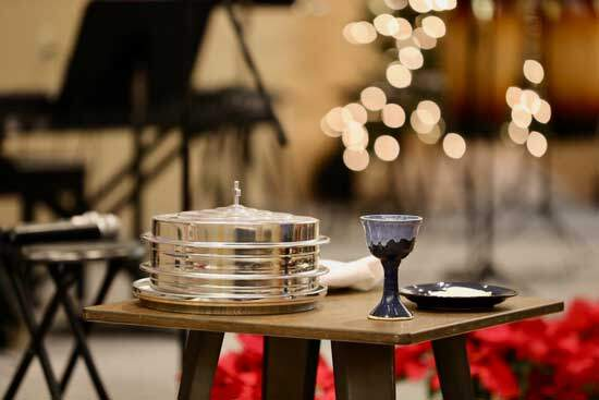 Communion tray & glass as Adventists practice open communion for anyone who comes to the service with humility & repentance