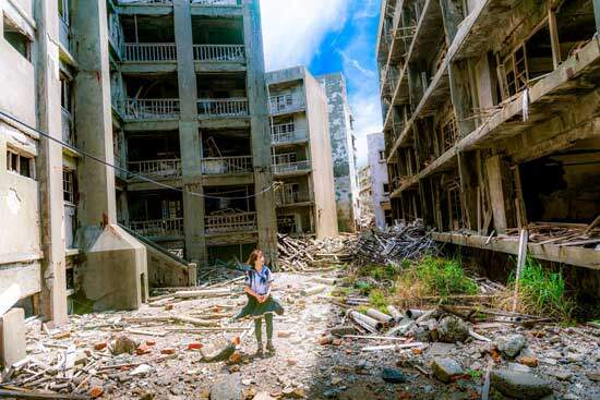 Girl standing in midst of destruction, bloodshed & misery as Paul describes in Romans 3:10-18 of results of humanity's fall