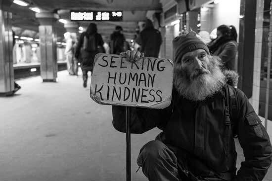 Man seeking human kindness or donations as Adventists believe in helping those less fortunate which is a way to bless others
