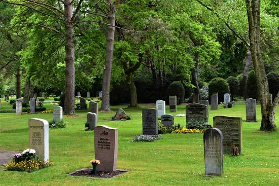 Tombstones in a graveyard, with trees, as we explore what Seventh Day Adventists believe about the end-time resurrection